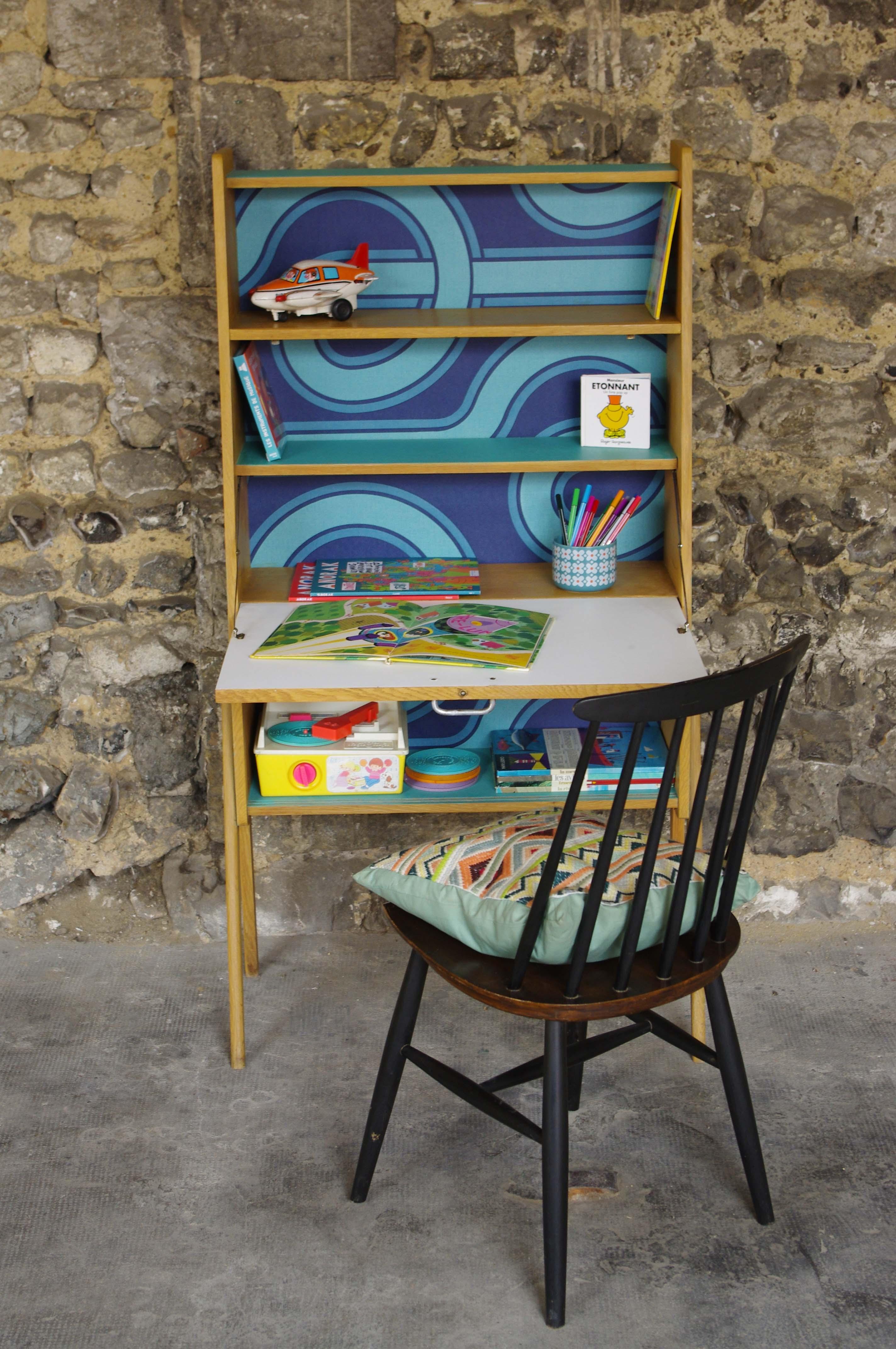 secr taire vintage ann es 50 pieds compas zeze 4 rayr concept mobilier vintage. Black Bedroom Furniture Sets. Home Design Ideas