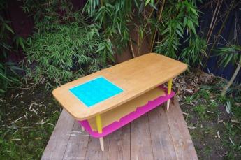 table-basse-vintage-bois-design-verre-rose-jaune-conique-2