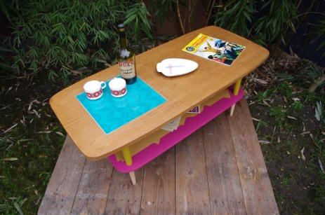 table-basse-vintage-bois-design-verre-rose-jaune-conique-8