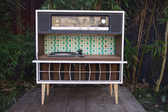 Meuble Vintage Grunding Audioprisma Hifi Radio Platine Disque Vinyle