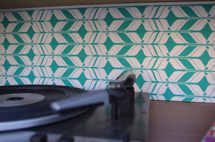 Meuble Vintage Grunding Audioprisma Hifi Radio Platine Disque Vinyle Blanc Papier Peint Bois 8