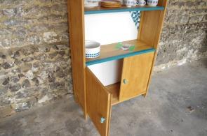 bibliothèque-étagère-vintage-relookée-peint-vaisselier-turquoise-Rouen-Paris-9
