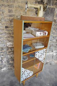 bibliothèque-étagère-vintage-relookée-peint-vaisselier-vert-Rouen-Paris-7