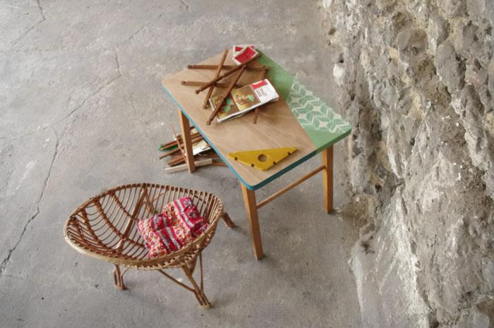 Bureau vintage enfant papier peintu vert bois rouen paris u rayrÉ