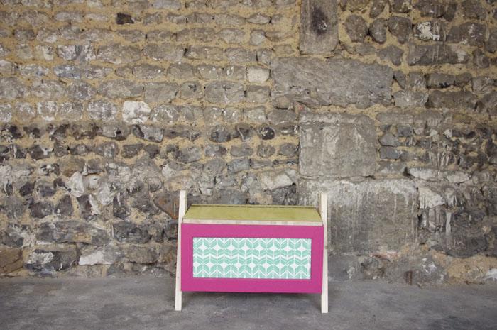 coffre-à-jouet-vintage-enfant-rangement-rose-vert-pied-compas-Rouen-Paris-1