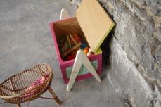 coffre-à-jouet-vintage-enfant-rangement-rose-vert-pied-compas-Rouen-Paris-6