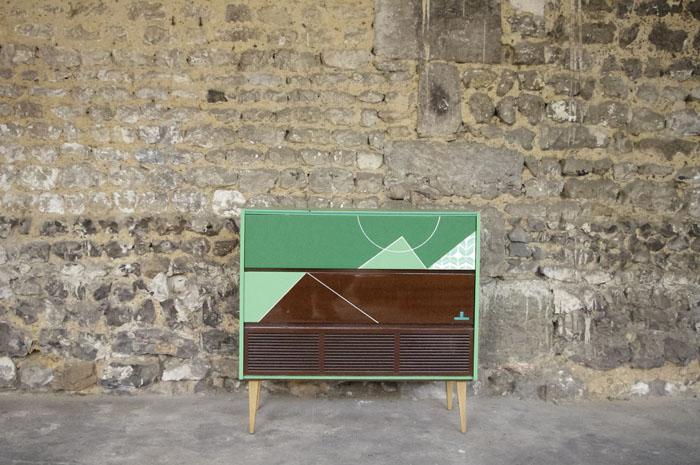 meuble-hifi-Grunding-vintage-vynile-platine-enfilade-vert-blackboard-Rouen-Paris-1