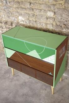 meuble-hifi-Grunding-vintage-vynile-platine-enfilade-vert-blackboard-Rouen-Paris-2