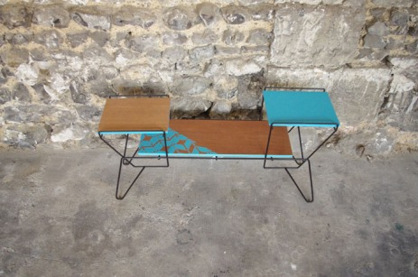 mini-table-enfant-vintage-disque-plante-étagère-turquoise-Rouen-Paris-10