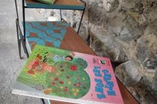 mini-table-enfant-vintage-disque-plante-étagère-turquoise-Rouen-Paris-6
